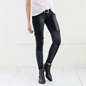 BLANK NYC faux leather black patch jeans 28